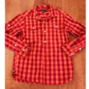 Tommy Hilfiger Red & Orange Gingham Button Up